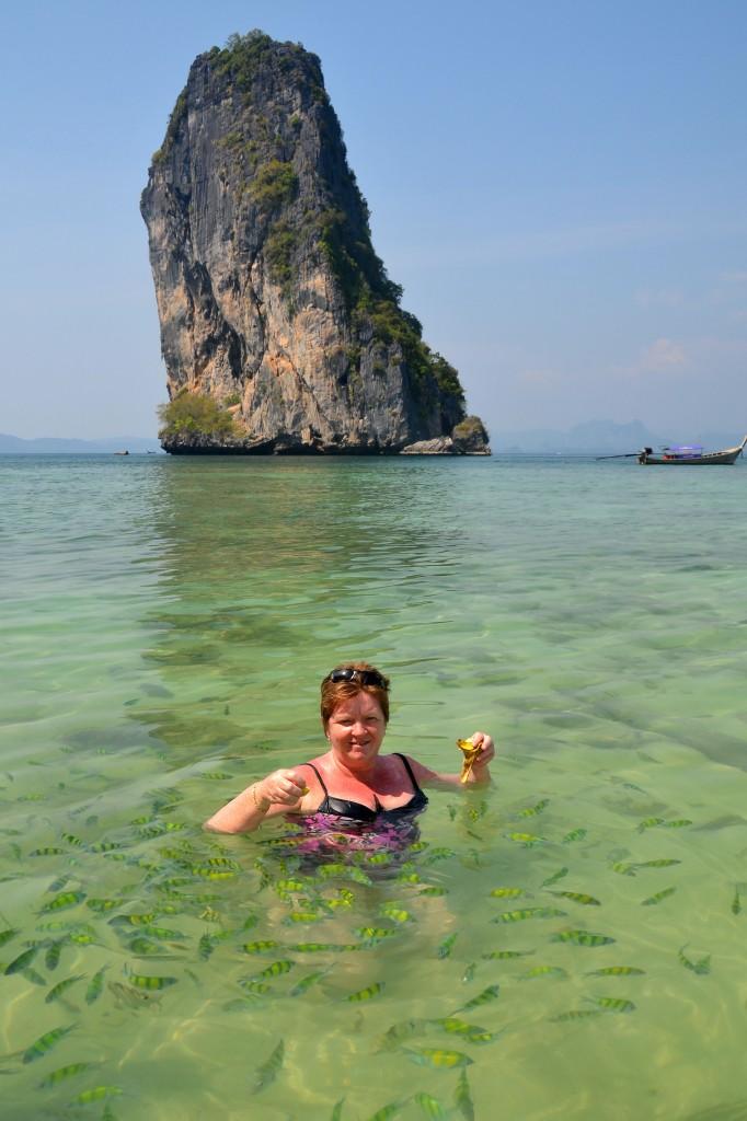Feeding the fish, Poda island, Krabi