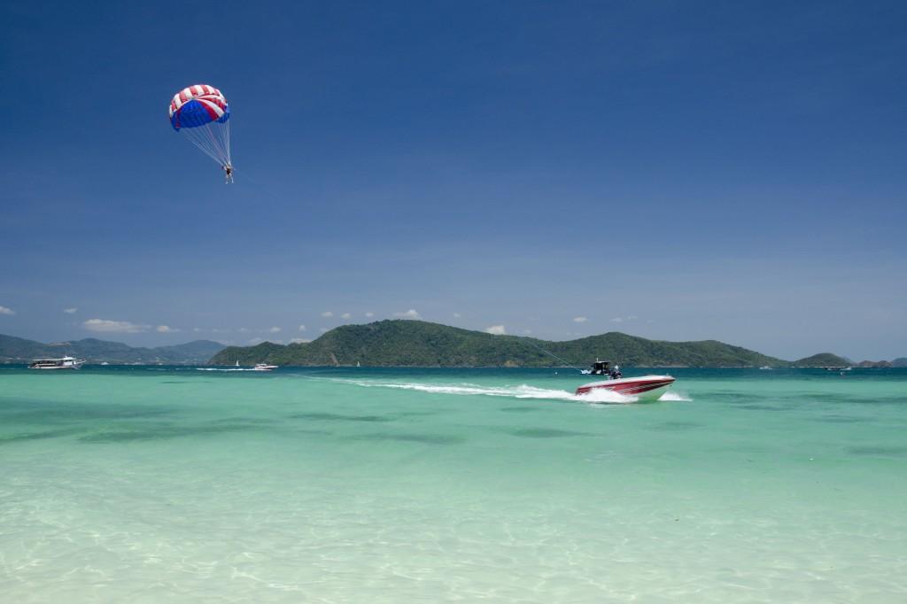 Parasailing off Coral Island, Phuket