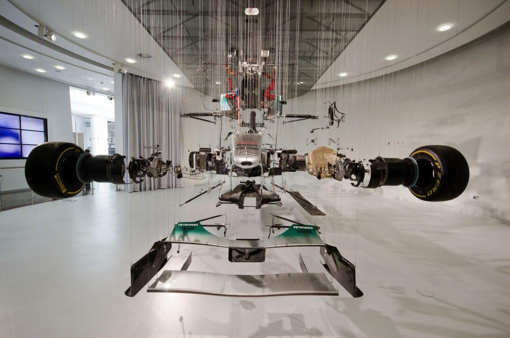F1 Mercedes in bits at Mercedes World