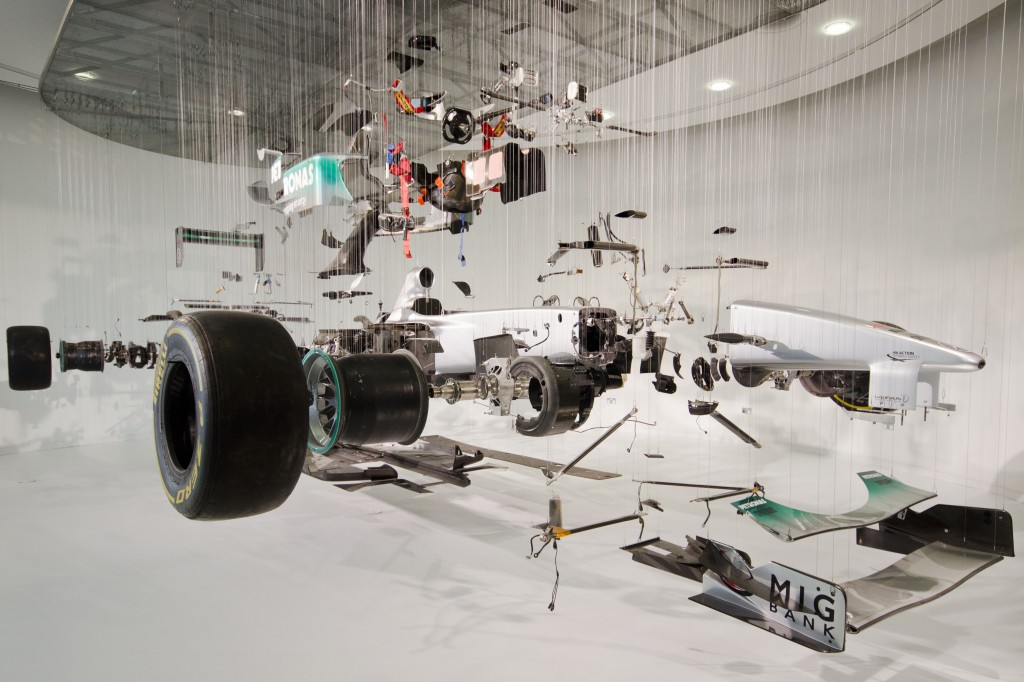 F1 Mercedes in bits at Mercedes World
